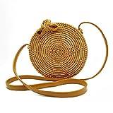 Rattan Bag, GraceFINE Round Hand Woven Ata Rattan Crossbody Bags, Rattan Purse for Women