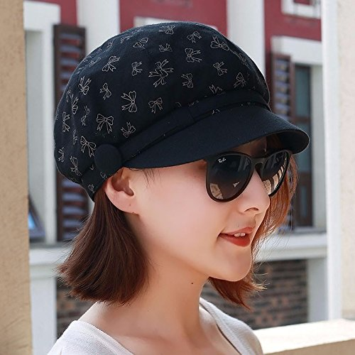XINQING-MZ Hat the girl octagonal cap hard along the cap Visor Fashion Cap torn pieces of cloth -