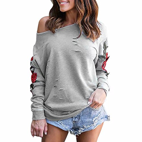 Reasoncool Women Embroidery Cutout Long Sleeve Off Shoulder Sweatshirt Pullover T-Shirt Tops Blouse (S, Gray)