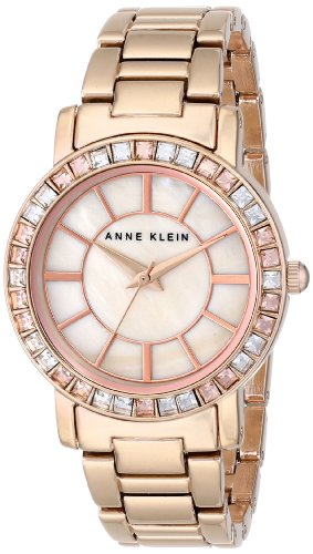Anne Klein Womens AK1670PMRG Swarovski Crystal Accented Rose Gold-Tone Bracelet Watch