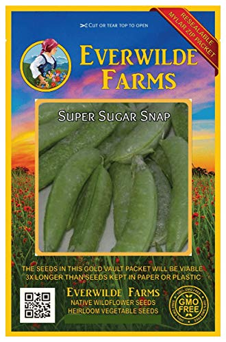 Everwilde Farms - 150 Super Sugar Snap Pea Seeds - Gold Vault Jumbo Seed Packet