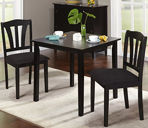 Harewood 3 Piece Dining Set, Constructed of Sturdy Rubber Wood with Microsuede Upholstered Seats (Black) (Chairs Nook Breakfast)