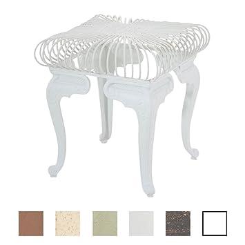 Clp Mesa De Jardin En Hierro Forjado Melle Mesa Auxiliar De Exterior Mesa De Exterior Fabricada A Mano En Estilo Nostalgico Color Blanco