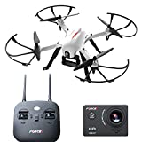Force1 F100 Ghost Drone with Camera, 1080p HD Sports Action Camera INCLUDED, 15 Min Flight Time, Brushless Motors, 2 Batteries for Long Quiet Flight, RC Drone Accessories. Supports Go-Pro Hero 3 or 4