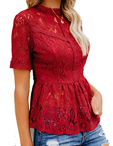 Tobrief Women's Sheer Mesh Short Sleeve Ruffle Top Lace Sexy Blouse Wine Red M (Mesh Hem Lace)