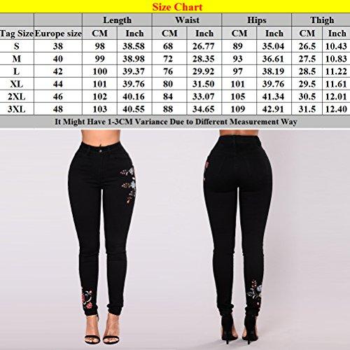Zhhlinyuan Ripped Plus Pants Boyfriend Jeans Stretch Ladies Size Black Femme Chic Trousers Embroidery lgant q7HP7txr