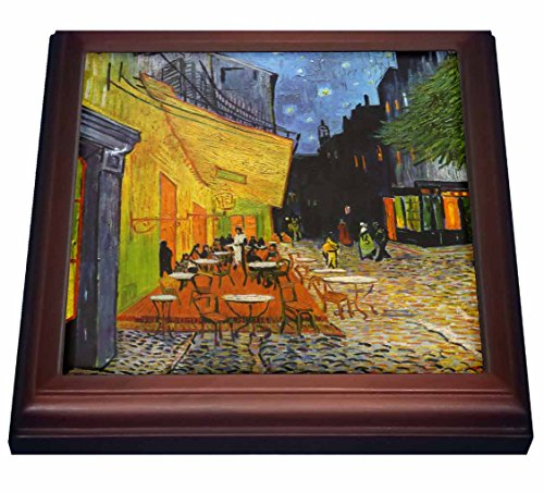 """3dRose trv_155653_1 Cafe Terrace at Night by Vincent Van Gogh-1888-Restaurant French Street Painting Trivet with Ceramic Tile, 8 by 8"""", Brown"""