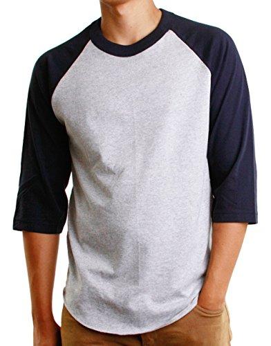 Hat and Beyond Mens Baseball Raglan T Shirts 3/4 Sleeves Casual Cotton S-3xl Jersey 1KSA0001 (Medium, 1ks01_ Gray/Navy)