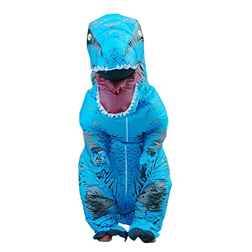 Kids T-Rex Dinosaur Inflatable Costume Halloween Cosplay Blow Up Suit Fancy Dress Outfit for Child (Kids, Blue)