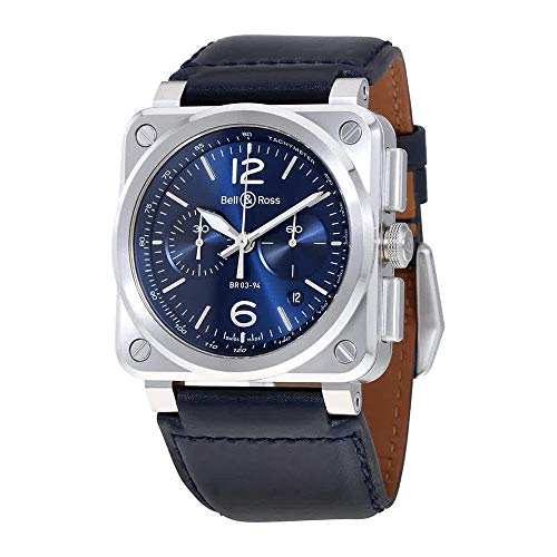 Ross Automatic Watch Bell - Bell and Ross Aviation Automatic Blue Dial Mens Watch BR0394-BLU-ST/SCA