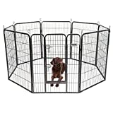 DazzPet Dog Puppy Large Playpen Metal Fence with Door   Heavy Duty Pet Pen Outside Exercise RV Play Yard   Outdoor Indoor Courtyard Kennel Crate Enclosures   40″ Height 8 Panel Review