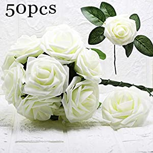 KooNicee White Wedding Decorations - Fake Rose Artificial Flowers Bulk for Bridal Bridesmaid Bouquet Centerpieces Arrangements Party Birthday Gift Home Hotel Graden Romance DIY Decor (50 pcs) 119