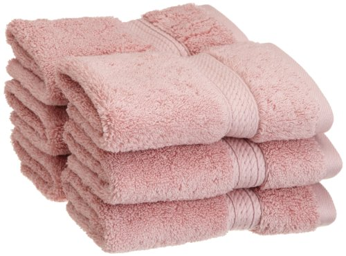 (Superior 900 GSM Luxury Bathroom Face Towels, Made of 100% Premium Long-Staple Combed Cotton, Set of 6 Hotel & Spa Quality Washcloths - Tea Rose, 13