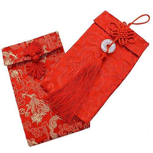 Art Silk Card (Buorsa 2PCS/set Chinese Element Festive Silk Red Envelopes Gift Card Envelopes Silk Fabric Pouches)