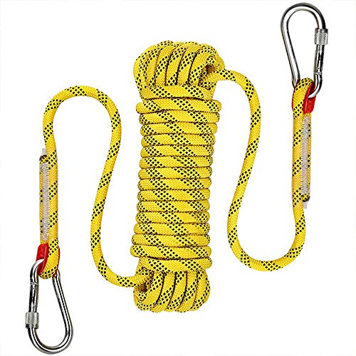 AOSExpert 10 mm Outdoor Static Rock Climbing Rope, Fire Escape Safety Rescue Rappelling Rope(Yellow, 98) ()