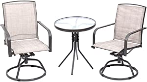 Fit Right 3 Pieces Outdoor Furniture, Patio Table and Chairs, Bar Stools Set of 3 Swivel Outdoor Chairs, Bar Height Patio Table & Chairs Set Furniture Patio All Weather Outdoor Patio Furniture (Cream)