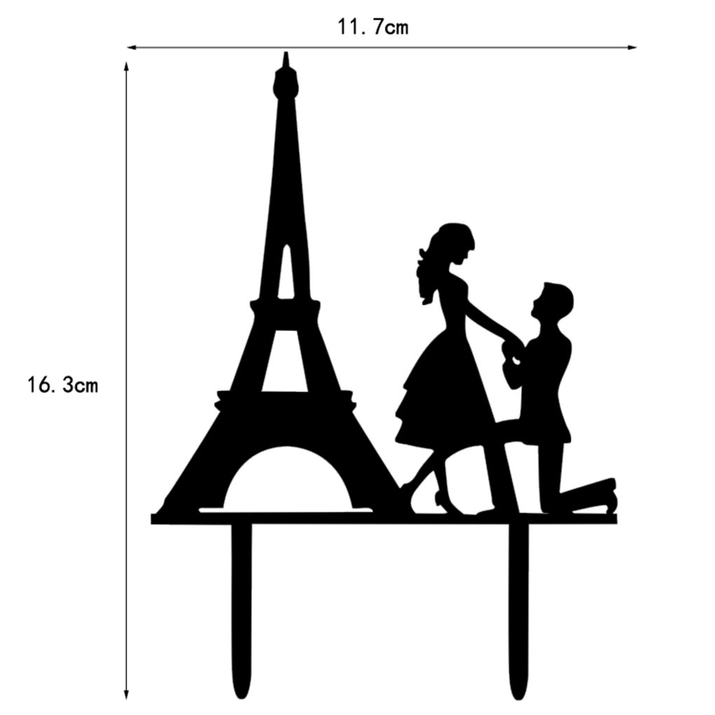 M-Egal Wedding Cake Topper Proposed Cake Picks Stand Acrylic Eiffel Tower Wedding Party Cake Decor black 16.3*11.7*0.22cm