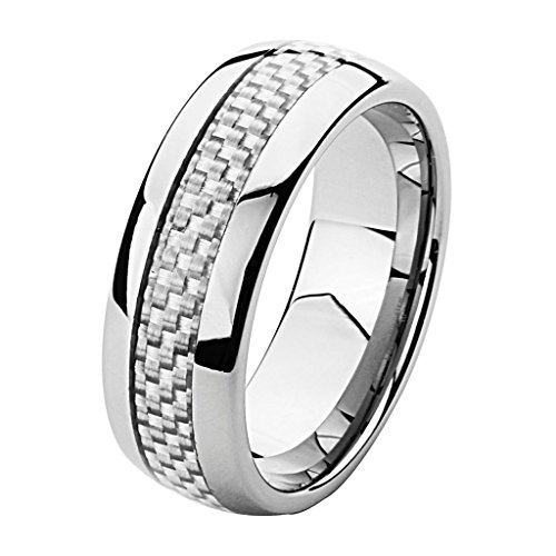 Wellingsale 8MM Comfort Fit Wedding Band Ring with Sporty White Grey Carbon Fiber Inlay and Rounded Edges - Size 10.5