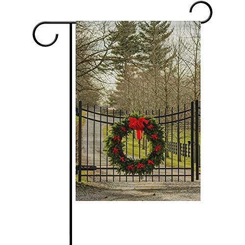"Starosa Christmas Wreath Forest Tree Door Bar Garden Flag Home Outdoor Patio Seasonal Holiday Fabric 12"" x 18"" Inch Wedding Anniversary Garden Flag"