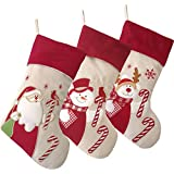 WEWILL Lovely Christmas Stockings Set of 3 Santa, Reindeer, Snowman Xmas Character 3D Plush Linen Hanging Tag Knit Border 17-Inch (3)