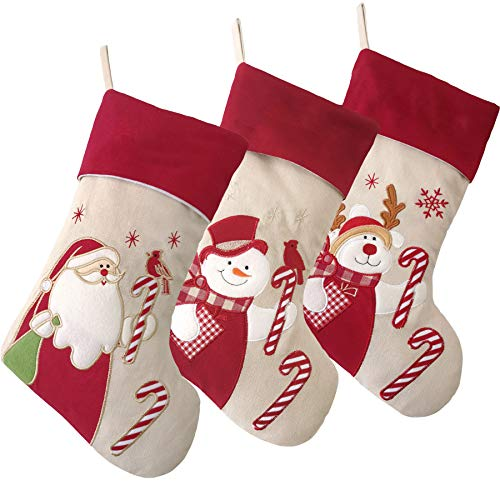 - WEWILL Lovely Christmas Stockings Set of 3 Santa, Reindeer, Snowman Xmas Character 3D Plush Linen Hanging Tag Knit Border 17-Inch (3)