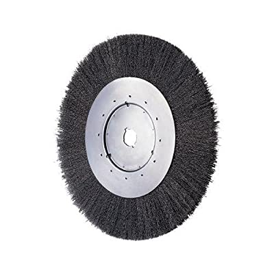 "PFERD 80162 Power Crimped Wire Wheel Brush, Narrow Face, Round Hole, Carbon Steel Bristles, 8"" Diameter, 0.014"" Wire Size, 5/8"" Arbor, 6000 Maximum RPM"