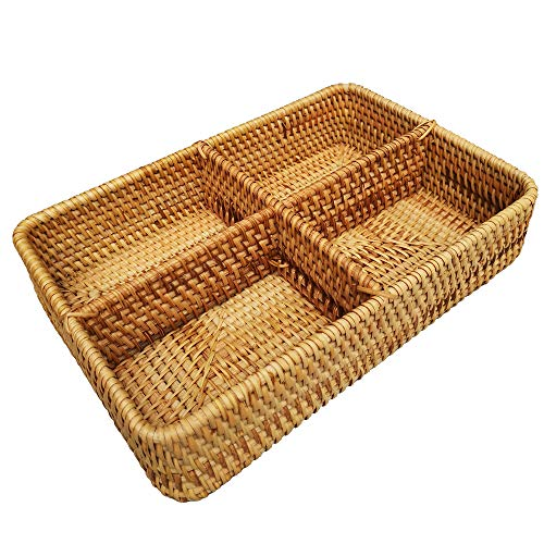 Handwoven Rattan 4-Compartments Rectangle Storage Organizer Utensil and Bottle Serving Basket 4 Divider Fruit Nut Tabletop Bowl