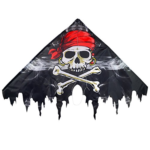 Pirates Single - In the Breeze Fringe Delta Kite - Single Line Beginner Kite - Smokin' Pirate, 50-Inch