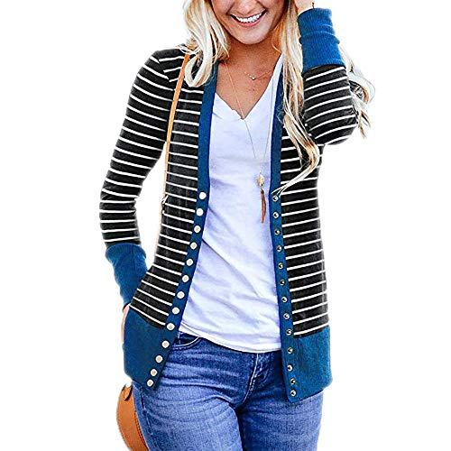 EFAN Women Snap Button Down Stripe Contrast Color V Neck Long Sleeve Cardigan