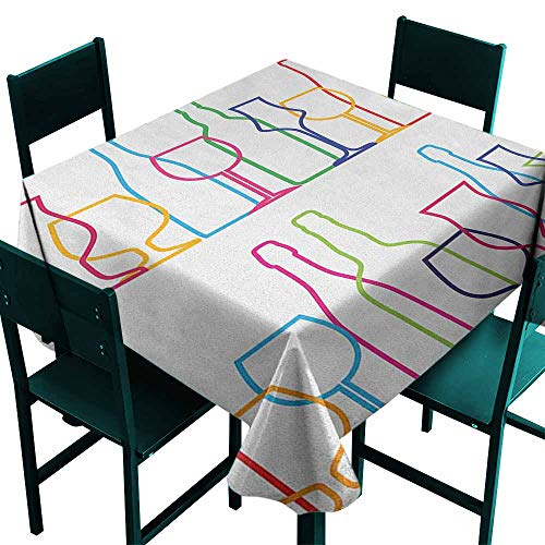 (Indoor/Outdoor Square Tablecloth Wine Colorful Outline Bottles and Glasses Bar Party Drink Cocktails Modern Fun Collection For Events Party Restaurant Dining Table Cover 70x70 Inch Multicolor)