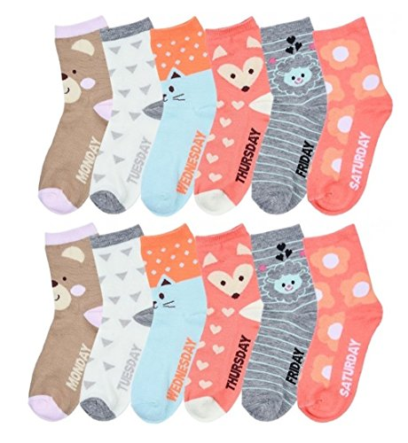 Price comparison product image 12 Pairs Pack Kids Girls Colorful Creative Fun Novelty Design Crew Socks (4-6, Daily)