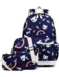 Kemys 3 Pieces Girls School Backpack Set Cute Bookbag for Teens Water-Resistant