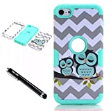 iPod Touch 6th Generation Case,Lantier 3 Layers Verge Hybrid Soft Silicone Hard Plastic TUFF Triple Quakeproof Drop Resistance Protective Case Cover with Stylus Waves Owl/Mint Green