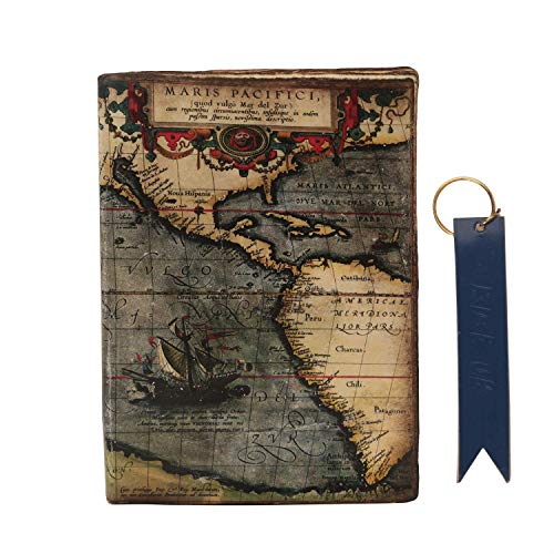 storeindya Leather Journal Writing Notebook - Leather Bound Daily Notepad with Unlined Paper 7 x 5 inches for Men Women Art Sketchbook (World Travelers Map) to Write in - Great -