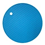 Mimgo Store 2 pack Flexible Honeycomb Silicone Round Pot Holder Non-slip Durable Heat Resistant Placemat Table Mat (Light Blue)