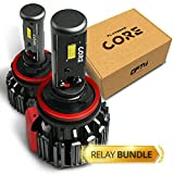 OPT7 FluxBeam CORE H11 H8 H9 H16 LED Headlight Kit Bulbs w/Relay Bundle - 60w 6,000LM 6K Cool White CREE - 1 Year Warranty