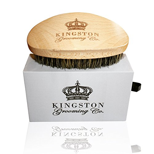 Kingston Grooming- Professional Quality, 100% Natural Wooden Dual Boar Hair Bristle Beard and Hair Brush for Men. Solid Beechwood and Engraved Contour Design with Travel - Hair Case Brush