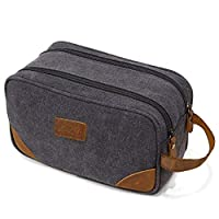 Deals on Kemy's Mens Canvas Toiletry Bag Travel Bathroom Shaving Dopp Kit