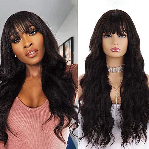 SHAO.W Women's Dark Brown Wigs with Bangs Long Wavy Curly Synthetic Wig for Girls Heat-Resistant Replacement Hair(24…