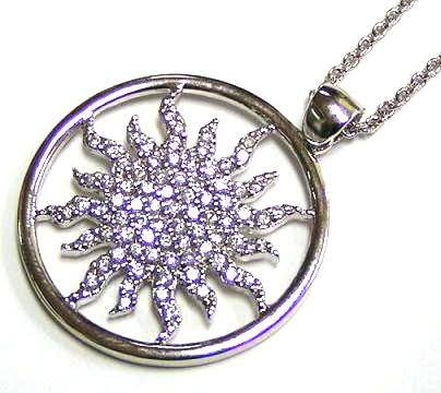 MusicBoxAttic Sun Shaped Silver Pendant Necklace with Cubic Zerconia Stones (Zerconia Stones Cubic)