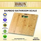 Harlyn BSB2100 Digital Body Weight Bathroom Scale - Natural Bamboo - Step-on Technology - 330 lbs max weight