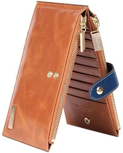 Borgasets RFID Blocking Women's Genuine Leather Wallet Credit Card Holder Zipper Purse Brown by Borgasets