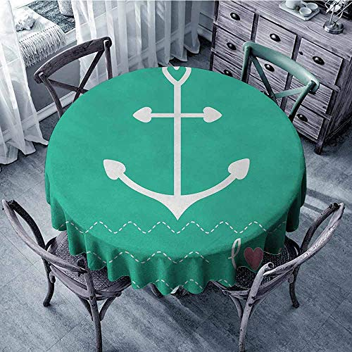 ScottDecor Patterned Round Tablecloth Anchor,Anchor Heart Shapes and Wavy Lines on The Bottom Sailor Love Valentines Day,Green Pink White, Table Cover Diameter -
