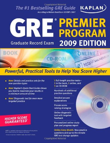 Kaplan GRE Exam 2009 Premier Program (w/ CD-ROM) - Gre Premier Program