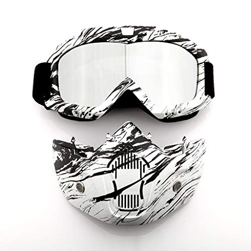 Professional Elite Motorcycle Helmet Goggles, Detachable Dust Mask, Fog-proof Warm Goggles Mouth Filter Adjustable Non-slip Strap Classic Face Mask for KTM Snowmobiling Motocross Dirt Bike (White) ()