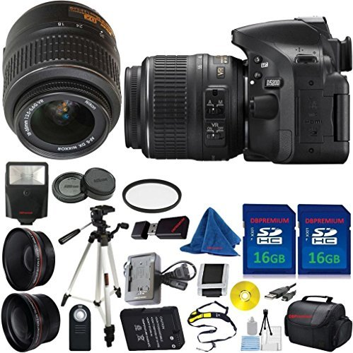 Nikon D5200 DSLR Camera with 18-55mm VR Bundle + 2pcs 16GB Memory Card + Case + Card Reader + Tripod + Starter Kit + Wide Angle + Tele + Flash + U.V. Filter - International Version