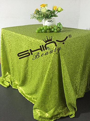 ShinyBeauty Sequin Tablecloth Lime Green-60x102-Inch Rectangle Sparkly Fabric Tablecloth Sequin Rectangular Table Cloth for Wedding Party Cake Sweetheart ()