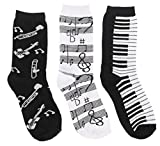 Women's Black White Music Notes, Piano Keys, Instruments Crew Socks, (3Pr) Size: 9-11