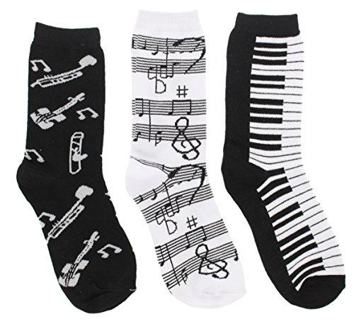 Womens Black White Music Notes, Piano Keys, Instruments Crew Socks, (3Pr) Size: 9-11