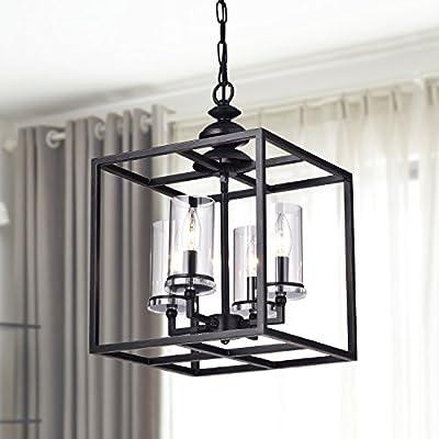 Jojospring La Pedriza 4-light Antique Black Lantern Chandelier with Clear Glass Cylinders